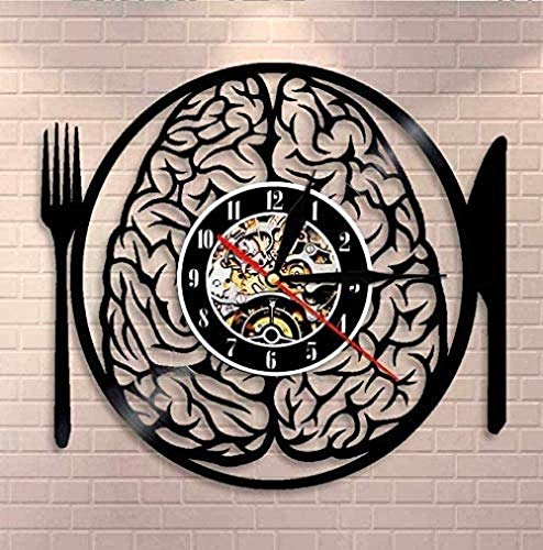 CCGGG Reloj de Pared con Disco de Vinilo no te Comas mi Cerebro con vajilla Colgante de Pared Arte Cerebro Reloj de Pared neurona anatomía Registro Cerebral Reloj de Pared neurociencia Enfermera