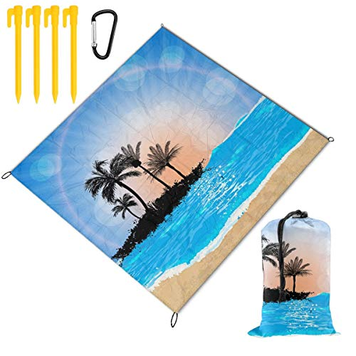 New Hucuery Picnic Blanket 59 X 57 in Beach and Sun Foldable Waterproof Extra Large Picnic Mat, Can ...