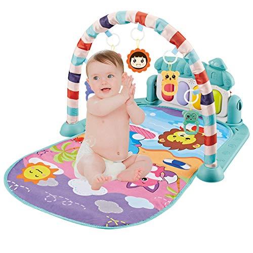 Migaven Gimnasio de juegos musicales para suelo, Kick Play Piano Gym Activity Center con luces musicales colgantes juguetes para bebés niños de edad comprendida entre 0 y 36 meses azul
