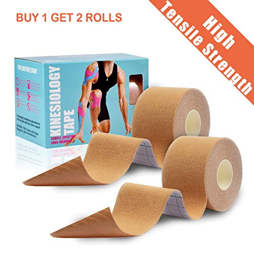 2 Rolls Kinesiology Tape 2 Inch x 165 Feet Latex Free Athletic Tapes Waterproof Breathable Sports Tapes for Knee Shoulder Elbow Ankle Neck