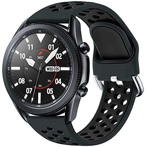 JUVEL Kompatibel mit Samsung Galaxy Watch 3 Armband 45mm/Galaxy Watch Armband 46mm, 22mm Sport Silikon Armband Atmungsaktive Ersatzarmbänder für Huawei Watch GT/GT2 46mm, Groß, Kohleschwarz