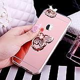 Funda para iPhone 6S, [carcasa de TPU con brillantina] Cristal de diamantes de imitación de diamantes de imitación de goma, espejo de espejo, funda protectora para iPhone 6S/6, oro rosa mariposa