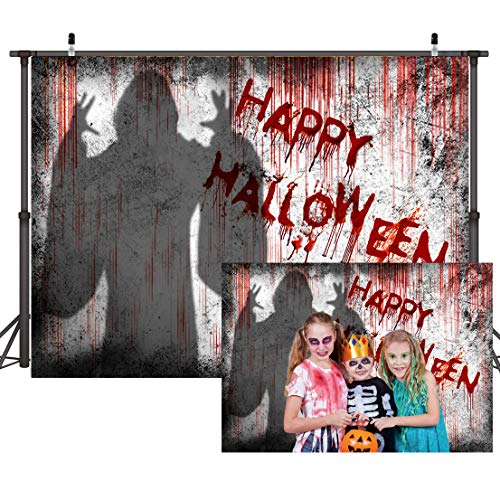 LTLYH 7X5ft Bloody Halloween Backdrop Fabric Dripping Blood Ghost Shadow Photo Backdrops for Photoshoot Horror Halloween Party Banner Portrait Photo Booth Backdrop Props A066