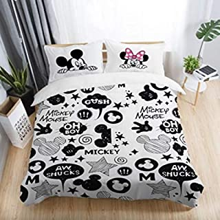 Best Quality - White Red Mickey Minnie Mouse 3D Printed Bedding Sets Adult Bedroom Decoration Duvet Cover Set Size - AU Single(3pcs)