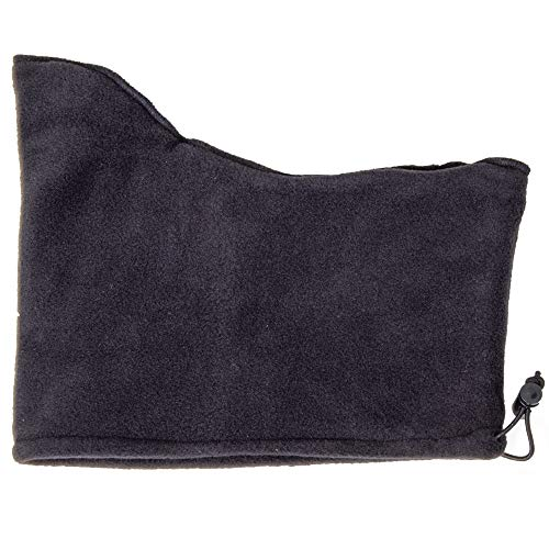 RefrigiWear Double Layer Thick Fleece Neck Gaiter with Adjustable Drawcord (Black, One Size Fits All)