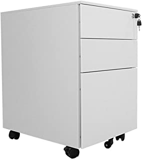 XHMCDZ Drawer Organizers Office Cabinets, Racks & Shelves Office Vertical Files 3 Drawer Metal Mobile File Cabinet with Lo...