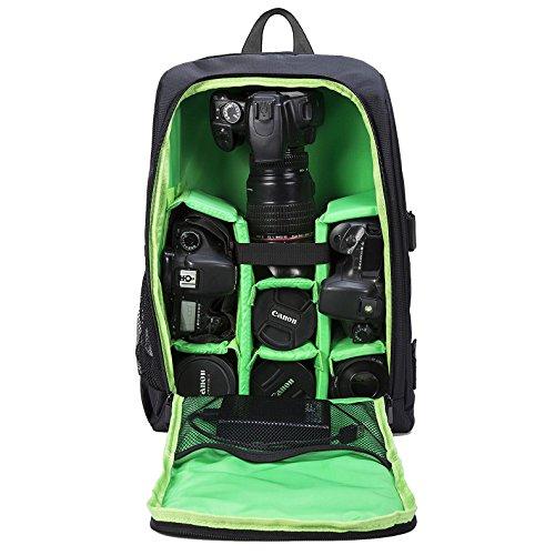 Selighting Mochila Fotográfica Multifunción y Impermeable para Cámaras Réflex Digital SLR Lentes Trípode Flash Laptop Portátil Canon Nikon Sony Drone y Accesorios (Verde-1)