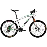 BEIOU Carbon Fiber Mountain Bike Hardtail MTB Shimano M610 DEORE 30 Speed Ultralight 10.8 kg RT 26 Professional External Cable Routing Toray T800 Glossy Green CB005 (Green, 15-Inch)