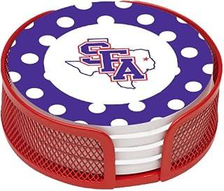Thirstystone Stoneware Drink Coaster Set with Holder, Stephen F Austin University Dots