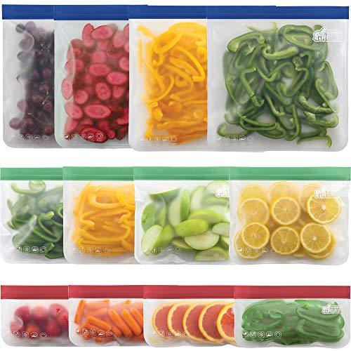 Gorilla Grip Original Premium Reusable Food Storage Bags, 12 Pack, Leakproof Secure Zip Freezer...