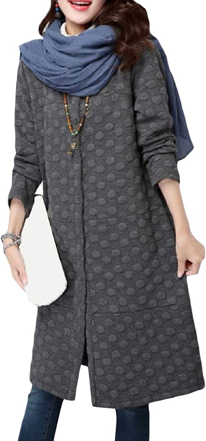color&W Women Ethnic Thick Mid Long Button Pockets Solid Outwear Coat