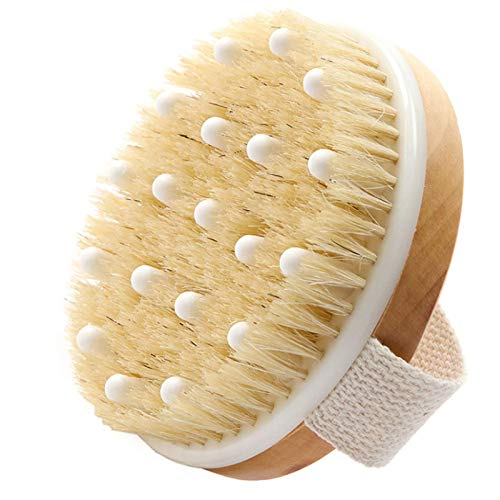 Dry Brushing Body Brush,Exfoliating Brush With Soft Massage Nodules,Reduce Cellulite - Dry Brush for Cellulite and Lymphatic Drainage, Keep Skin Healthy - Gentle Massage Node (Natural Boar Bristles)