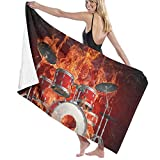 Ghkjhk8790 Beach Towels for Women Men Flame Skull Rock Music Drum Set Bath Towels Quick Dry Multipurpose Travel Pool Blanket Large 31x51 Inches