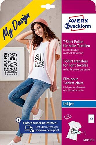 AVERY Zweckform 20 Textilfolien (für helle Textilien, DIN A4, bedruckbare T-Shirt Folie zum Aufbügeln, Transferfolie für Inkjet-/Tintenstrahldrucker, Bügelfolie) MD1010