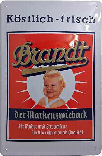 Blechschild Brandt ZWIEBACK, Retro Reklame, Kult Werbung, Türschild, Wandschild, hochwertig geprägt, 30 x 20 cm
