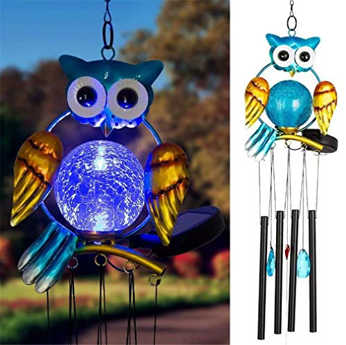 Changing Color Owl Solar Wind Chimes LED Light Shapes and Solar-Powered Chime Night Lights for Home Garden Bedroom