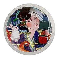 引き出しハンドルは装飾的なキャビネットのノブを引っ張る ドレッサー引き出しハンドル4個,古代の衣装とウサギの女の子