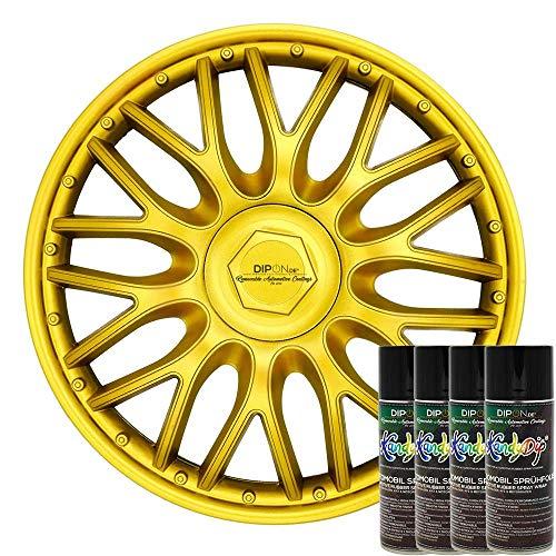 KandyDip® Sprühfolie Luxury Metal Gold Flüssiggummi Felgenfolie Spraydosen Sets+2K, (2X Effekt, Matt)