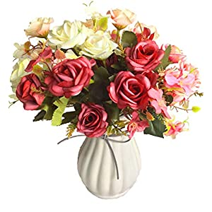 Artificial Flowers, Artificial Rose Bouquets with Ceramics Vase, Fake Silk Roses, Suitable for Wedding, Home Office and Party Decoration (Mixed Color)