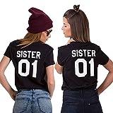 Daisy for U Best Friends T-Shirt für 2 Mädchen mit Aufdruck Lustige Passende Kurzarm Damen von 1 Stücke, Schwarz-SIS01, XXL