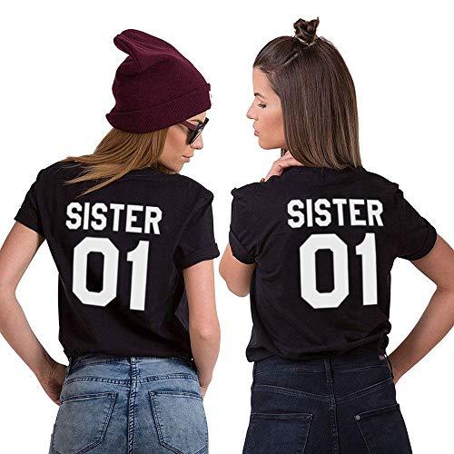 Daisy for U Best Friends T-Shirt für 2 Mädchen mit Aufdruck Lustige Passende Kurzarm Damen von 1 Stücke, Schwarz-SIS01, M