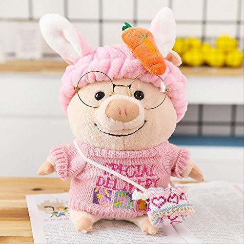 khfkdjsbfcksb Plüschpuppe Der Kinder Bunte Schweinpuppe Plüschspielzeugpuppenmädchenkissenrückseitensofabett Dekorative Verzierungen 25cm Pinkfarbener Pullover