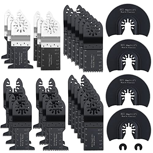 Remiawy Multitool Blades, 32 Pack Oscillating Saw Blades for Wood Plastics Metal Quick Release Oscillating Tool Blades Compatible with Dewalt Rockwell Milwaukee Porter Cable Bosch Craftsman Dremel Fein