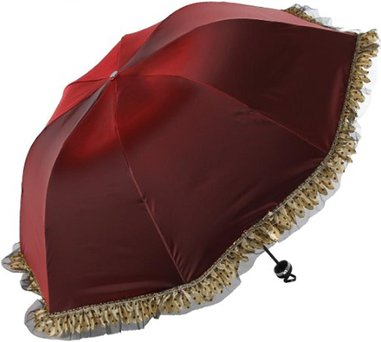 Dot Lace Edge AntiUv Sun Umbrella Third Folding Uv Predected Parasol