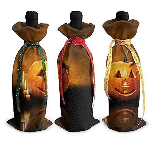 BK Creativity Wine Bottle Bag,Orange Kürbis Kerze Spinne Halloween 3Pcs Rotwein Taschen Für Hotel Bar Dekoration