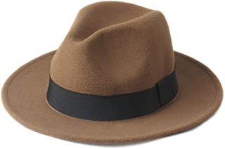 2019 Mens Womens Hats Womens Winter Wool Fedora Hat for Women Lady with Black Cloth Belt Wide Brim Jazz Hat Outdoor Homburg Travel Hat Size 56-58CM Soft