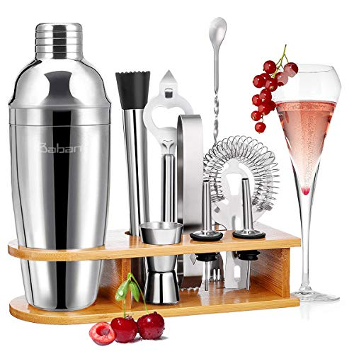 Baban Cocktail Shaker Set, 10tlg Cocktail Set, Bartending Set mit Bambus-Aufbewahrung, Cocktailzubehör 750ml Shaker, Geschenk für Männer und Frauen