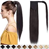 Silk-co 22' (55cm) Extensiones de Velcro Clip de Pelo Natural Coleta Postiza de Cabello Humano Lisas Ponytail Largo Velcro Clip in Hair Extensions Cola (95g) [#1B Negro Natural]