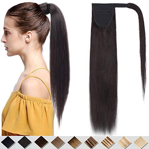 (35-55cm) Coda di Cavallo Extension Capelli Veri Umani 80g Remy Human Hair Clip Ponytail Lisci Naturali Wrap Around 35cm - 1B Nero Naturale