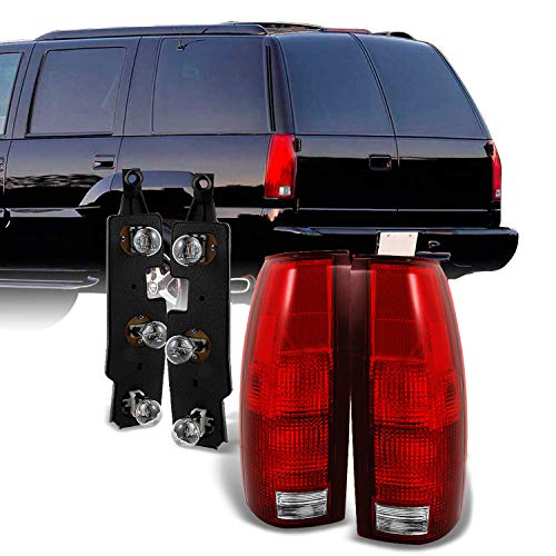 For 1988-1998 Chevy GMC C/K C10 Series Suburban Pickup Truck Red Clear Taillights w/Connector Plate Completed Assemblies