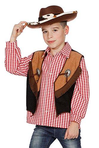 The Fantasy Tailors Cowboy-vest kinderen jongens bruin zwart met franjes kinderkostuum wild vest carnaval hoogwaardige bekleding maat 164 zwart/bruin