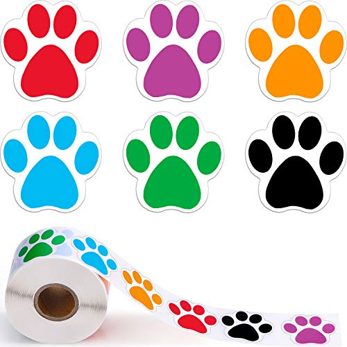 Boao A Roll of 600 Pieces Colorful Paw Print Stickers Dog Paw Labels Stickers Bear Paw Print, 1.5 Inch (Red, Orange, Green, Blue, Purple, Black)