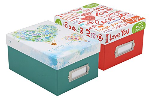 2 Fotoboxen Love für 700 Fotos in 10x15 cm Aufbewahrung Box mit Registerkarten