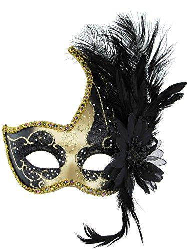 Thmyo Máscara de la Mascarada, máscara Veneciana Disfraz de Halloween Máscara de Fiesta de Navidad Cosplay con Pluma (Negro y Negro)