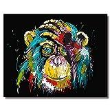 BOSHUN Pintar por Numeros para Adultos Niños Pintura por Números con Pinceles y Pinturas Decoraciones para el Hogar Orangután (16*20 Pulgadas, Sin Marco)