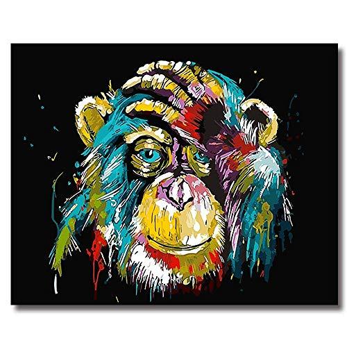 BOSHUN Malen nach Zahlen DIY Ölgemälde für Kinder Erwachsene Anfänger- Orang-Utan 16x20 Zoll Leinwanddruck Wandkunst Dekoration (Ohne Rahmen)