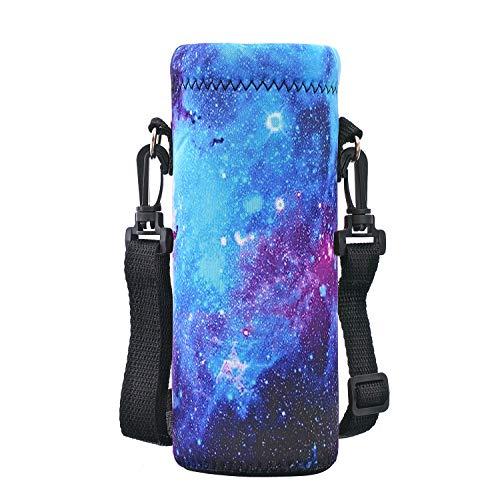 AUPET 水筒カバー 携帯式ボトルカバー 水筒ケース 調節可能なショルダーストラップある (500ML, PBC-Galaxy)