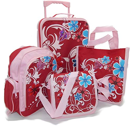Girl's Large Travel Set 5 Pieces Includes Trolley / Rucksack /Bag etc. Pink by APC