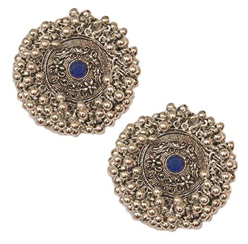 Pahal - Pendientes tradicionales de plata con perlas de kundan azul oxidadas y tribales de Bollywood de la India del Sur para mujer