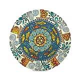Hajie Boho Tribal Mandala Flower Tovaglietta Set di 1 Tovaglietta rotonda antiscivolo resistente al calore per casa, vacanze, feste, cene