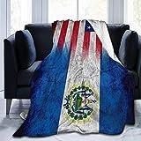 1111 Fleecedecke, Motiv: Flagge von El Salvador mit amerikanischer Flagge, leicht, superweich, gemütlich, warm, für Wohnzimmer/Schlafzimmer, alle Jahreszeiten, 203,2 x 152,4 cm