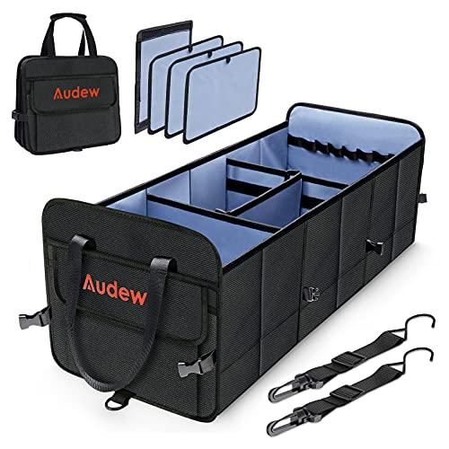 Audew Organizador de Maletero Coche Gran Capacidad 70L Plegable, Caja para Coche Maletero Almacenamiento Práctico y Impermeable Caja Maletero con 2 Cierres de Ganchos y 4 Compartimentos