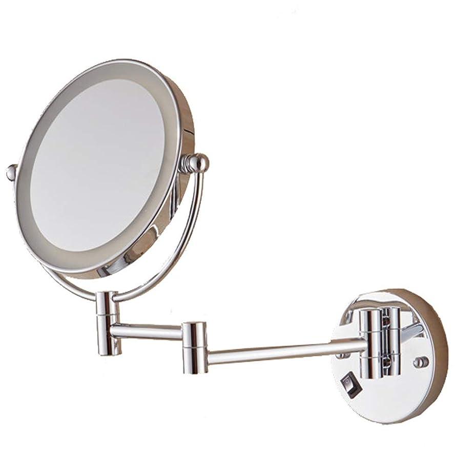ラッカス競争貫通する照明付き化粧鏡 壁掛け化粧鏡LEDライト付き両面360°回転自在、照明付き拡大両側調節可能化粧鏡、壁掛け、8インチ、バスルームミラー壁掛け 化粧鏡 (Edition : Reverse 5 times)