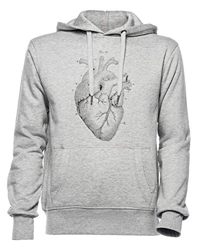 Anatómico Corazón Hombre Mujer Unisexo Sudadera con Capucha Jersey Gris Tamaño XXL...