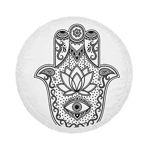 Manta de Toalla de Playa Redonda, símbolo de Hamsa Dibujado a Mano, Mano de Fátima, Esterilla de Yoga Circular Grande de Gran tamaño de 59 Inch con borlas de Flecos