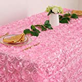 50x102 Inches Pink Rosette Tablecloth Rectangle Satin Overlay Rosette Fabric Tablecloth 3D Floral Tablecloth for Wedding Valentine's Day Baby Shower Event